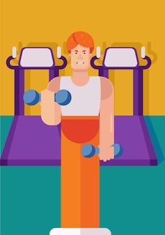 Illustrazione vettoriale piatta di un personaggio maschile in una palestra che fa esercizi con manubri