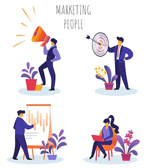 Insieme di persone di marketing illustrazione vettoriale piatto.