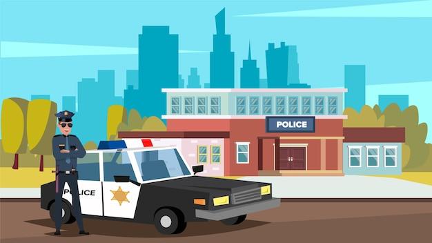 Illustrazione vettoriale piatto di un poliziotto in piedi davanti a una macchina della polizia e un ufficio di polizia in una grande città.