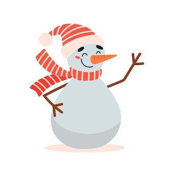 Illustrazione vettoriale piatta del simpatico pupazzo di neve di natale del fumetto isolato su priorità bassa bianca