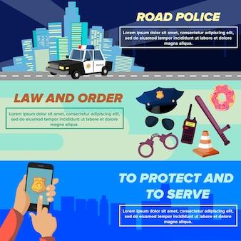 Insieme di modelli di banner web polizia di vettore piatto.