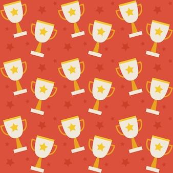 Vincitore del trofeo della competizione sportiva del modello senza cuciture di vettore piatto. fondo di struttura di stile piano. sport e tempo libero. primo posto. premio con stella. coppa con stella d'oro