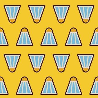 Piatto vector seamless sport e ricreazione badminton shuttlecock pattern. fondo senza cuciture di struttura di stile piano. sport e gioco modello. uno stile di vita sano. sport e tempo libero
