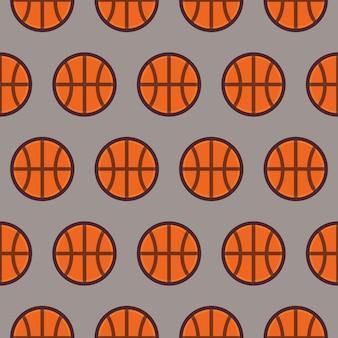 Basket senza cuciture del modello di sport e ricreazione di vettore piatto. fondo senza cuciture di struttura di stile piano. sport e gioco modello. uno stile di vita sano. sfera