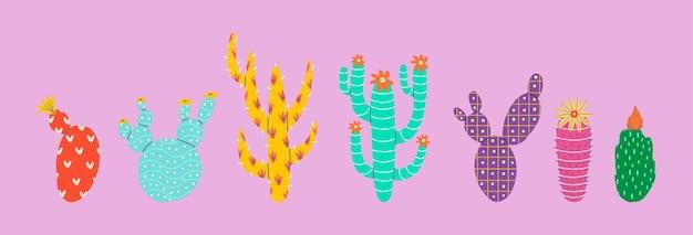 Insieme di vettore piatto di cactus decorativi astratti con un motivo. stile cartone animato.
