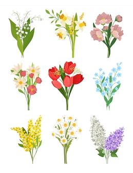 Insieme di vettore piatto di mazzi di fiori di primavera carino.