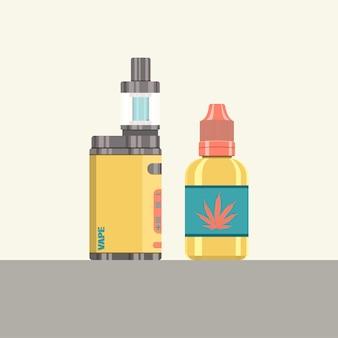 Insieme di vettore piatto di sigarette elettroniche e flacone contagocce liquido vape
