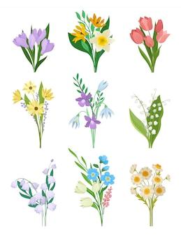Insieme di vettore piatto di mazzi di fiori di primavera.
