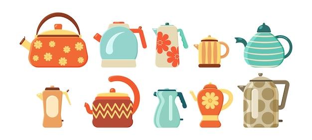 Insieme di vettore piatto di bollitori per il tè