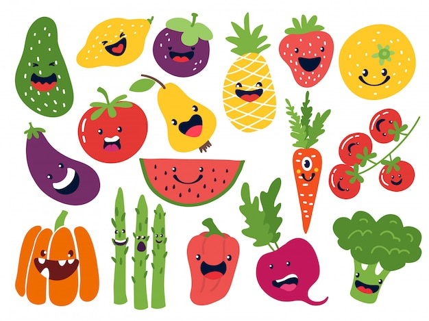 Personaggi vegetali piatti. frutti divertenti di scarabocchio di smiley, mele disegnate a mano del pomodoro della cipolla di patate delle bacche set di emoticon frutta carino