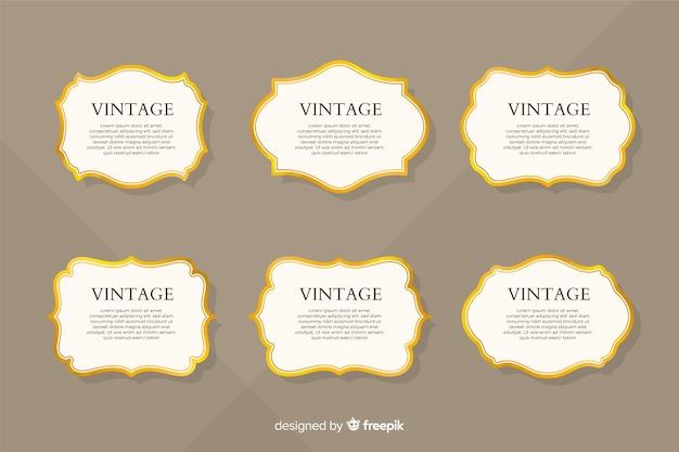 Collezione vintage cornice dorata piatta Vettore Premium
