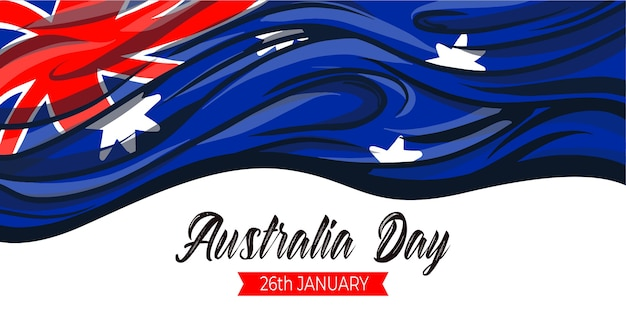 Piatta sventolando bandiera australiana felice australia day celebrazione