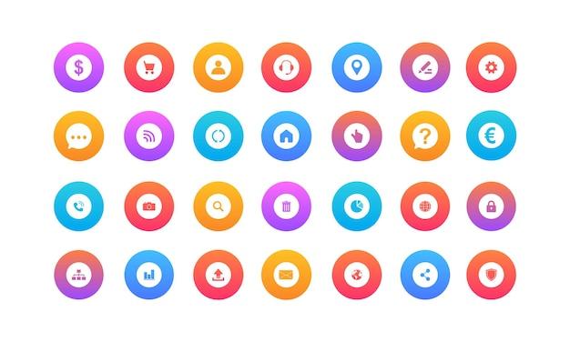Icone web piatte icone di linea vettoriale in design piatto con elementi per concetti mobili e app web