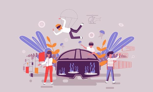 Modello di progettazione di pagine web piatte della homepage di realtà virtuale