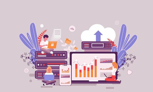 Modello di progettazione pagina web piatta della homepage di web hosting