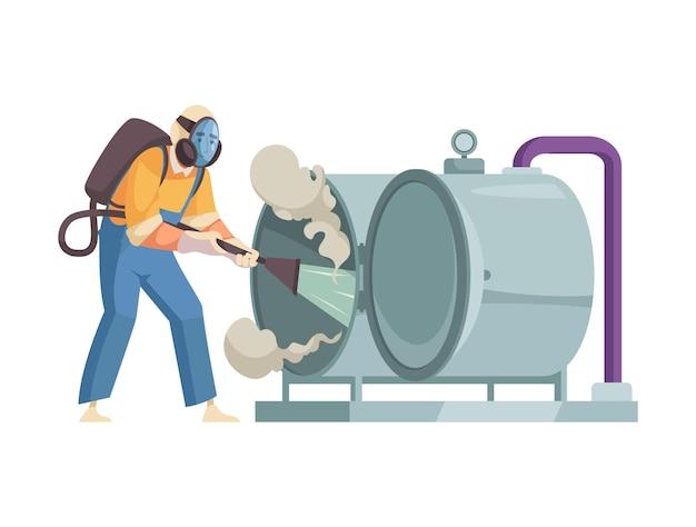 Operaio piatto del servizio di pulizia che lava attrezzature professionali