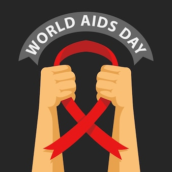 Vettore piatto dell'illustrazione della giornata mondiale dell'aids