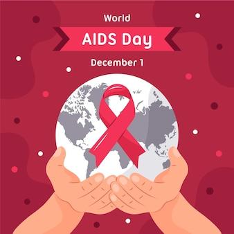 Illustrazione piana di giornata mondiale contro l'aids