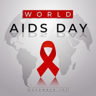 Nastro piatto giornata mondiale contro l'aids sulla mappa