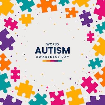 Illustrazione di giorno di consapevolezza dell'autismo mondo piatto con pezzi di un puzzle