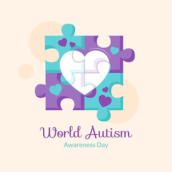 Illustrazione di giorno di consapevolezza di autismo mondo piatto