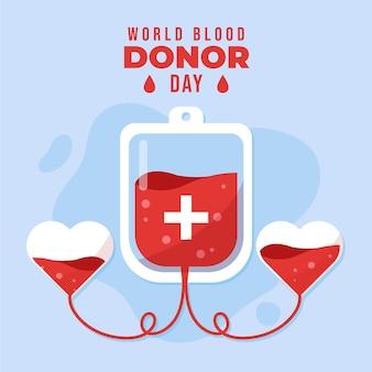 Illustrazione della giornata mondiale del donatore di sangue piatto