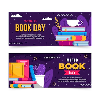 Set di banner piatto giornata mondiale del libro