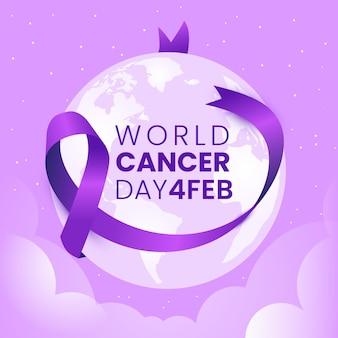 Nastro viola di giornata mondiale del cancro piatto sul globo terrestre