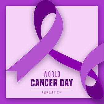 Nastro viola piatto giornata mondiale del cancro