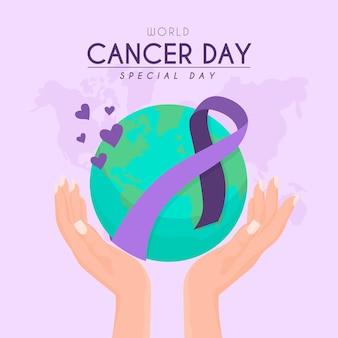 Giornata mondiale del cancro piatta
