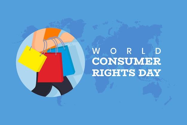 Illustrazione di giornata mondiale dei diritti dei consumatori piatto