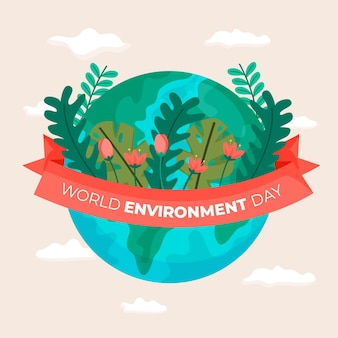 Illustrazione di giornata mondiale dell'ambiente piatto