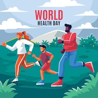 Illustrazione piana di celebrazione della giornata mondiale della salute