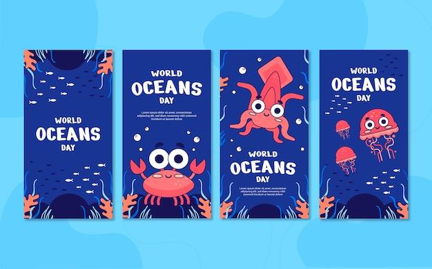 Raccolta di storie di instagram per la giornata mondiale degli oceani