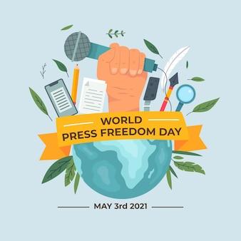 Illustrazione piana della giornata mondiale della libertà di stampa