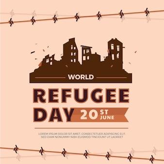 Illustrazione di giornata mondiale del rifugiato piatto