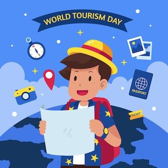 Fondo piatto della giornata mondiale del turismo