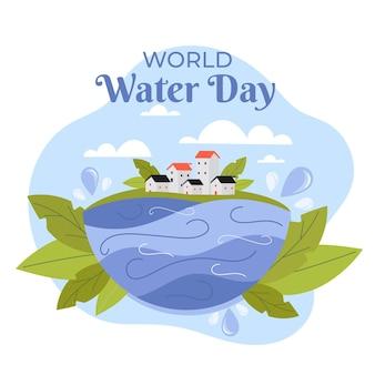 Illustrazione di giornata mondiale dell'acqua piatta