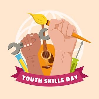 Illustrazione di giornata mondiale delle abilità della gioventù piatta