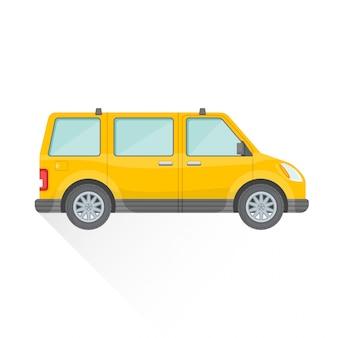 Icona di stile di corpo piatto auto van giallo