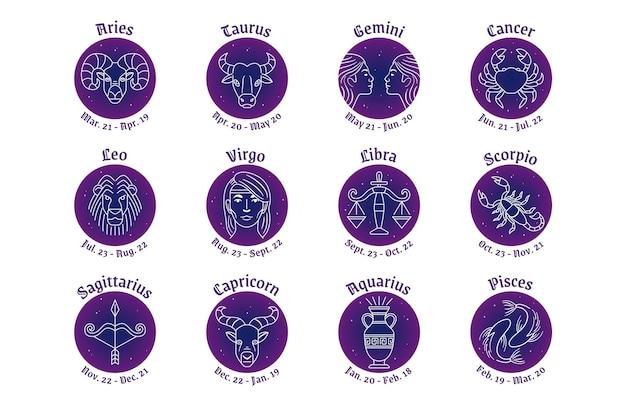 Collezione di segni zodiacali piatti