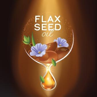 Olio di semi di lino con fiori