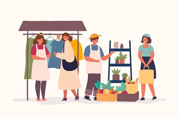 Illustrazione di design piatto del concetto di mercato delle pulci