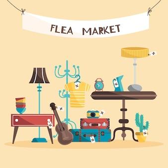 Design piatto del concetto di mercato delle pulci
