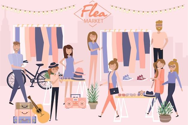 Manifesto del mercato delle pulci con persone che vendono e fanno shopping in strada pedonale, negozio di vestiti e accessori vintage