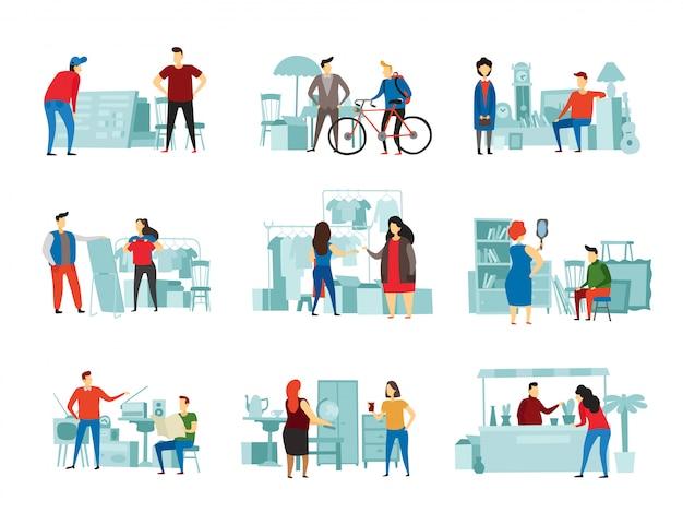 Mercato delle pulci. il commercio di strada, la vendita sul mercato delle pulci e lo scambio di abiti di seconda mano si incontrano insieme piatto illustrazione