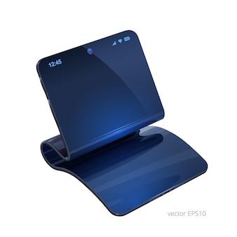 Telefono flessibile o computer compatto. immagine vettoriale realistica 3d. ibrido di smartphone e tablet. espositore pieghevole vuoto e custodia elastica.