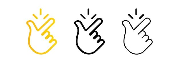 Set di icone con le dita scorrenti. significa che tutto è facile, bene, nessun problema. vettore su sfondo isolato. eps 10