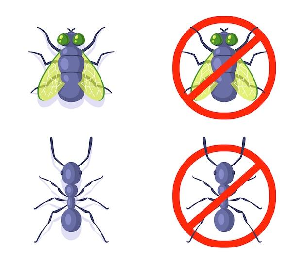 Mosche e formica su uno sfondo bianco. lotta contro gli insetti domestici.