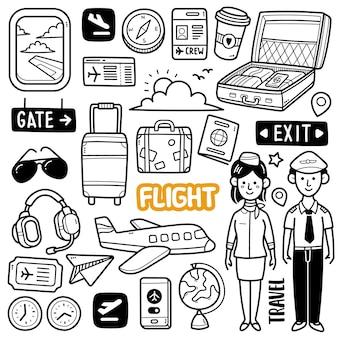 Illustrazione di doodle di volo in bianco e nero